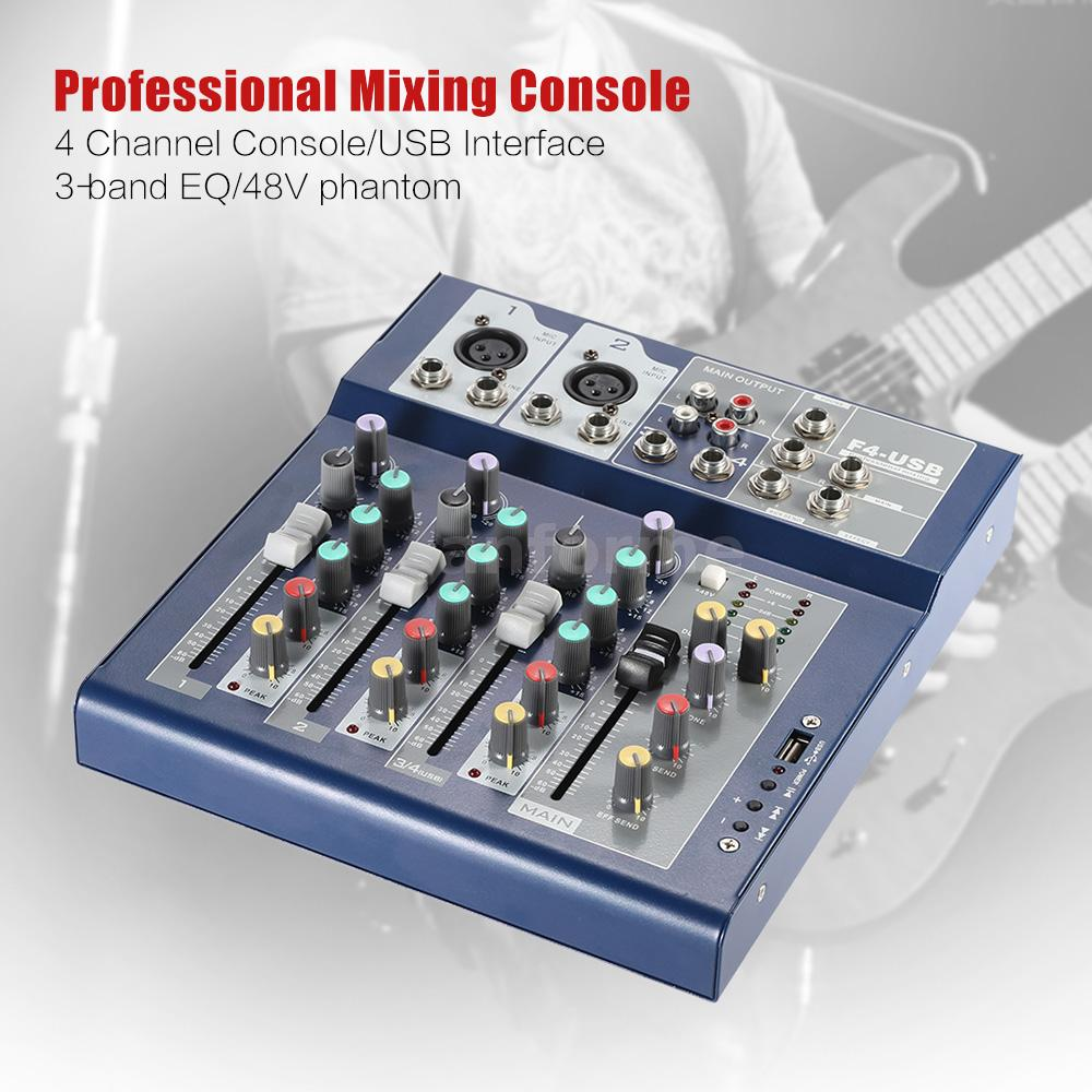 Professional 4 channel 3 bands equalizer mic line audio mixer console c1s9 ebay - Professional mixing console ...