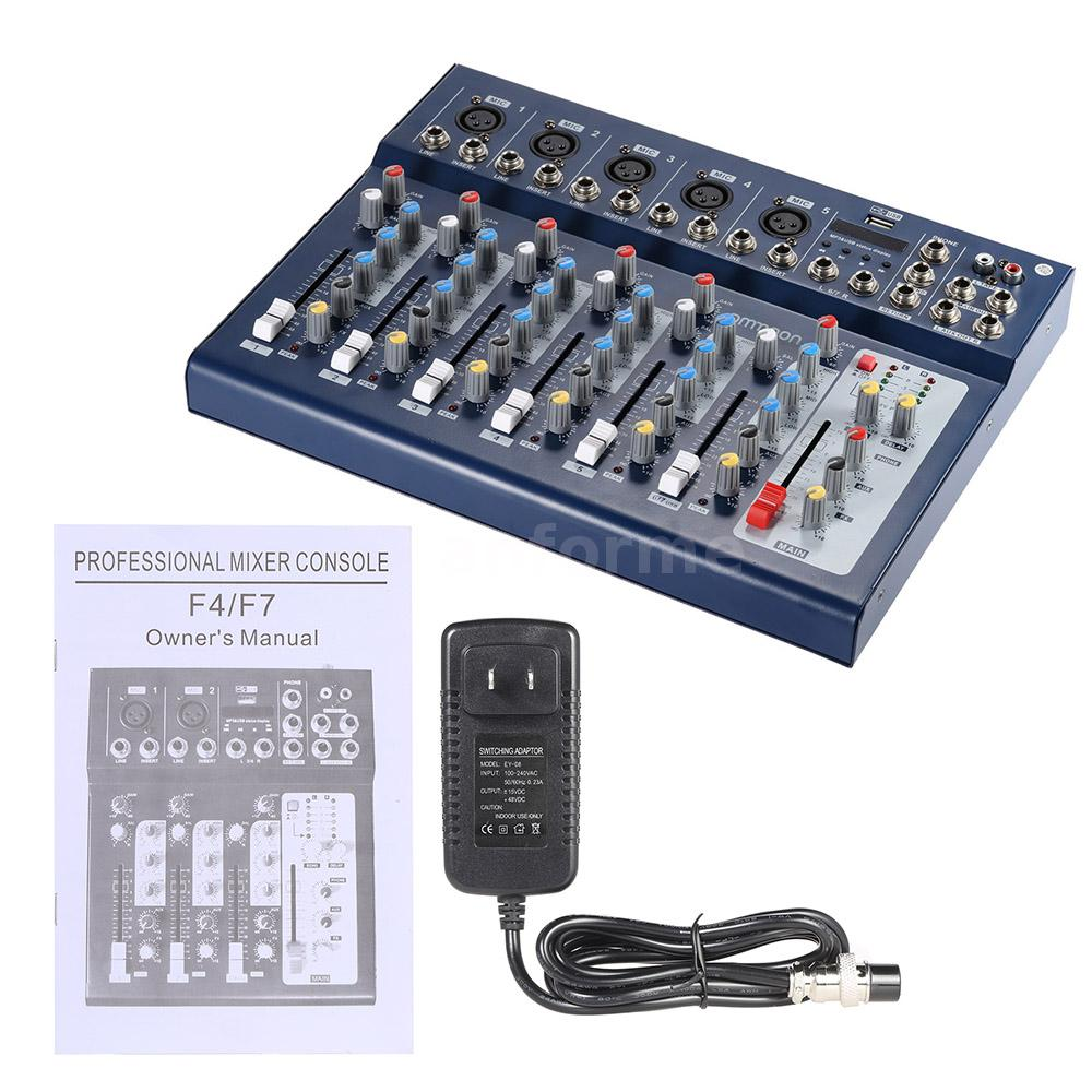 ammoon f7 usb 7 channel audio sound mixer console with usb input for dj f6n2 ebay. Black Bedroom Furniture Sets. Home Design Ideas